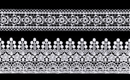 Lace border. White Ornamental Lace isolated on black background stock photos