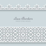 Lace borders. With shadows, ornamental paper lines Stock Photo