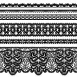 Lace borders on white. Realistic lace ribbons, set of ornamental tulle borders on white Royalty Free Stock Images