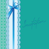 Lace and bow on a turquoise background. Vintage background with lace border and satin ribbon with a bow. Invitation card or templa Stock Photography