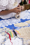 Lace bracelets - a lady making them; Kazimierz Dolny, Poland. This image shows some lace bracelets and other handmade pieces. It was taken in Kazimierz Dolny Stock Photography