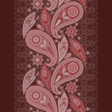Lace burgundy background, paisley and flowers. Vertical seamless pattern. Stock Photography