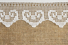 Lace and burlap Royalty Free Stock Image