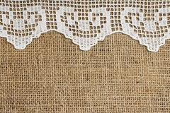 Lace and burlap Royalty Free Stock Photography