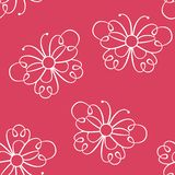Lace butterfly seamless pattern on red background. vector illustration