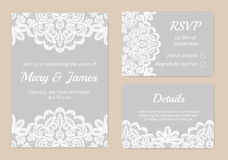Lace cards for wedding. Templates of invitation lace cards for wedding Royalty Free Stock Images