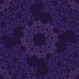 Lace circle oriental ornament, ornamental doily pattern on violet background. Stock Photography