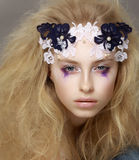 Lace. Closeup Portrait of Stylish Attractive Fashion Model with Modern Makeup Stock Images