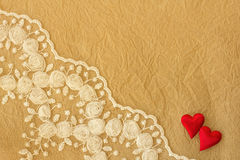 Lace and  crumpled paper background Stock Photo