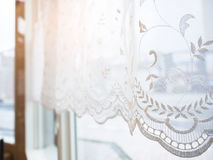 Lace curtain Window frame with morning light Vintage style. Home interior decoration Royalty Free Stock Image