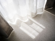 Lace Curtain Window with morning light Home Interior Stock Images
