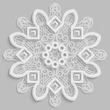 Lace 3D mandala,  round symmetrical openwork pattern,  decorative  snowflake, arabic ornament, decorative design element. Vector Royalty Free Stock Images