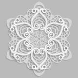 Lace 3D mandala,  round symmetrical openwork pattern,  decorative  snowflake, arabic ornament, decorative design element. Vector Stock Photo