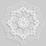 Lace 3D mandala,  round symmetrical openwork pattern,  decorative  snowflake, arabic ornament, decorative design element,. Vector Stock Images