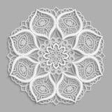 Lace 3D mandala,  round symmetrical openwork pattern,  decorative  snowflake, arabic ornament, decorative design element, Stock Photography