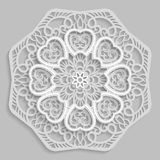 Lace 3D mandala,  round symmetrical openwork pattern,   Stock Photos