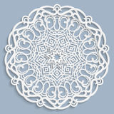 Lace 3D mandala, round symmetrical openwork pattern, lacy doily, decorative snowflake, arabic ornament, indian ornament, embossed. Pattern, decorative design stock illustration
