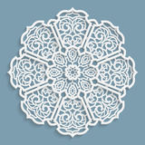 Lace 3D mandala, round symmetrical openwork pattern, lacy doily, decorative  snowflake, arabic ornament, indian ornament, embossed Royalty Free Stock Photo