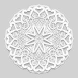 Lace 3D mandala, round symmetrical openwork pattern, lacy doily, decorative  snowflake Stock Image