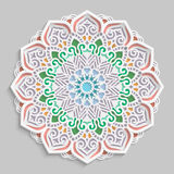 Lace 3D mandala, round symmetrical openwork pattern, lacy doily, decorative snowflake, arabic ornament, indian ornament, embossed. Pattern, decorative design Royalty Free Illustration