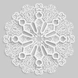 Lace 3D mandala, round symmetrical openwork pattern, lacy doily, decorative  snowflake, arabic ornament, indian ornament, embossed. Pattern, decorative design Stock Photo