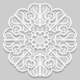 Lace 3D mandala, round symmetrical openwork pattern, lacy doily, decorative snowflake, arabic ornament, indian ornament, embossed. Pattern, decorative design Vector Illustration