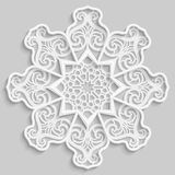 Lace 3D mandala, round symmetrical openwork pattern, lacy doily, decorative  snowflake, arabic ornament, indian ornament, embossed. Pattern, decorative design Royalty Free Stock Photo