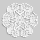 Lace 3D mandala, round symmetrical openwork pattern, lacy doily, decorative  snowflake, arabic ornament, indian ornament, embossed. Pattern, decorative design Royalty Free Stock Images