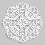 Lace 3D mandala, round symmetrical openwork pattern, lacy doily, decorative  snowflake, arabic ornament, indian ornament, embossed. Pattern, decorative design Stock Images