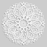 Lace 3D mandala, round symmetrical openwork pattern, lacy doily, decorative  snowflake, arabic ornament, indian ornament, embossed. Pattern, decorative design Royalty Free Stock Photography