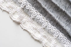 Lace decorated on cloth Stock Photo