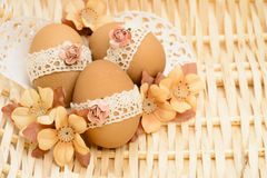 Lace decorated Easter eggs Stock Photography