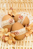 Lace decorated Easter eggs Royalty Free Stock Image