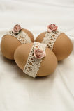 Lace decorated Easter eggs Royalty Free Stock Photos
