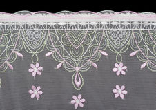 Lace decorated by pattern and decorative rose Royalty Free Stock Images