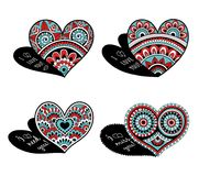 Lace decorative hearts for Valentines Day. Zentangle doodle heart love with ornaments black and white . Indian style Stock Photo
