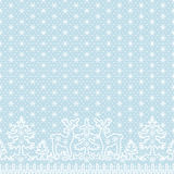 Lace deer borders. Christmas card with white lace winter borders with deer and fir tree on blue background Royalty Free Stock Photos
