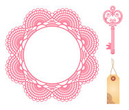 Lace doily. Set of decoration of doily and key. Vector illustration Royalty Free Stock Photos