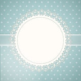 Lace doily background and blue Royalty Free Stock Photo