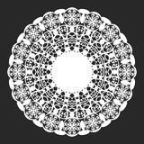 Lace doily. Classical white round lace doily vector illustration