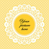 Lace Doily Frame, Buttercup Polka Dot Background Stock Photos