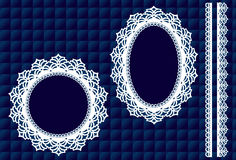 Lace Doily Frames, Quilted Blue Background. Decorative round and oval lace doily picture frames and trim elements on a quilted royal blue background for albums Stock Photo