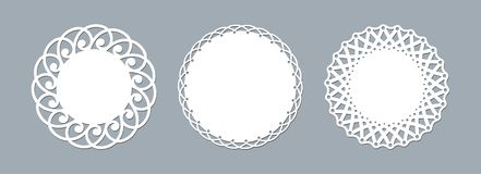 Lace doily laser cut paper Round pattern ornament Template mockup of a round white lace doily napkin lasercut frame Set Design vector illustration