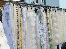 Lace doily  on an outdoor commercial fair Royalty Free Stock Photo