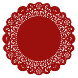 Lace Doily Placemat, Crimson Royalty Free Stock Image