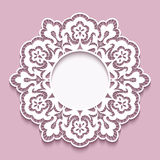 Lace doily, round cutout paper frame template Stock Photos