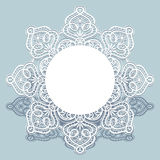 Lace doily, round frame with cutout paper border Royalty Free Stock Images