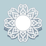 Lace doily, round frame with cutout paper border Royalty Free Stock Image