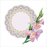 Lace doily. Vintage card with lace doily stock illustration