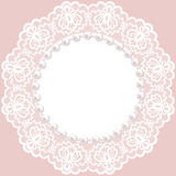 Lace doily. Vintage card with lace doily and pearls Stock Photography